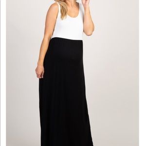 White and black maternity maxi
